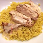 Arroz Con Pollo (grilled chicken over mexican rice and topped with queso)