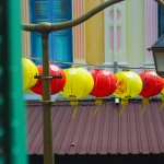 Chinese lanterns outside the Chinese Cultural Heritage center.