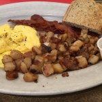 American Breakfast (scrambled eggs, breakfast potatoes, bacon, rye toast)