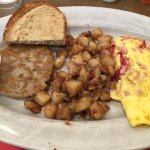 BYO Omelette (eggs, ham, cheese, sundried tomatoes, avocado), potatoes, side of sausage, rye toa