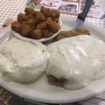 Country Fried Steak with mash potatoes and okra.  Yum