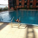My son enjoying in the swimming pool on the new year's day