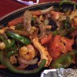 Beef, shrimp and chicken fajitas
