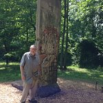 A stela of the Berlin wall, on the sculpture trail at Kentuck Knob