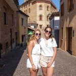 My girls visiting the village of Barolo