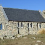 The side of the impressive stone church, small but offering a lovely outlook.