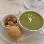 Cream of Asparagus & Leek Soup, Cheese Scone and Croutons