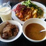 This is the 3 course Vegetarian Feast with soup, main, dessert and a drink