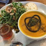 Soup and salad: Carrot-ginger-orange soup with a Cauliflower with dates and nuts salad.