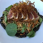 Seared yellowtail over soba noodles