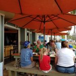 Outdoor patio with covered tables at Humpy's
