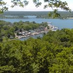 View of the downtown Saugatuck waterfront from atop Mount Baldhead.