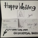 a greeting card given by the reception staffs for a newlywed couple on honeymoon