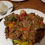 Satay beef with side of jasmine rice