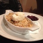 Apple & rhubarb crumble with frozen yoghurt, berry compote
