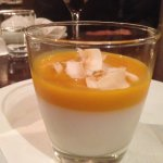 Coconut & kaffir lime panna cotta with mango gelee