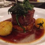 Beef Eye Fillet with Potato Rosti, Creamed Spinach, Vine Ripened Tomatoes, Jus