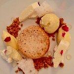Ricotta hazelnut frangipane, fig leaf ice cream, thyme, honey
