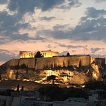 Evening view of the Acropolis from the restaurant