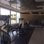 Fitness center weight machines; great view