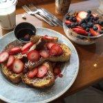 Great French Toast and lovely yogurt fruit granola