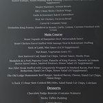 Sample Sunday menu
