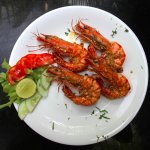 Pan fried locally caught prawns