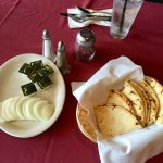 Complimentary Pita, butter and sweet onion
