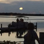 Just after sunset boaters coming to dinner