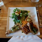 Grilled salmon with sweet mashed potatoes and lobster