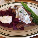 chicken fried portobello mushrooms with beets and asparagus