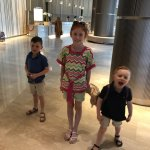 Lovely serene lobby complete with Buddhist monk in background & my not so serene kids in foregro