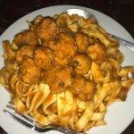 Tagliatelli with chicken meatballs