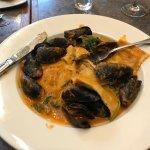 Veggie ravioli w/mussels- paella w/shrimp