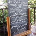 La carte des dessert du menu à 25 €.