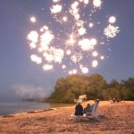 Fireworks on the beach at Breakers Resort