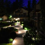 The path lights Up beautifully in the courtyard at night.