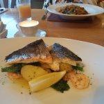 Sea bass,new pots , samphire & brocoli + duck & noodles