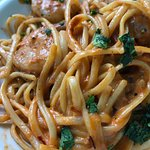 Shrimp pasta brunch entree.  Lots of pasta, 5 medium-sized shrimp (cooked well), and a very good