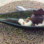 Texturas de chocolate de cal Simón y cava.