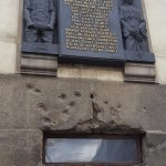 Holes from bullets shot by Nazis trying to capture the paratroopers hidden in the church