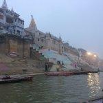 Beautiful Ganges and Varanasi ghats at dusk