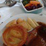 loads of veg & perfect roast beef