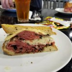 Reuben with fresh pastrami and homemade rye bread