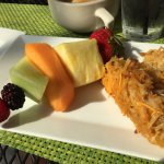 Fruit spear and hash brown casserole