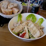 the Cesar Salad with plenty of Chicken....