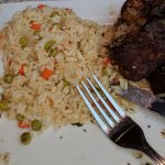 Greek rice that accompanied my rotesserie lamb..the peas had certainly seen better days