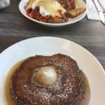 Irish Benedict large serving and pricey. Buckwheat pancakes yummy cinnamon flavor from butter. N