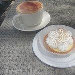 Lemon tart and cappuccino