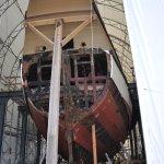 The Mayflower II in drydock for renovations.